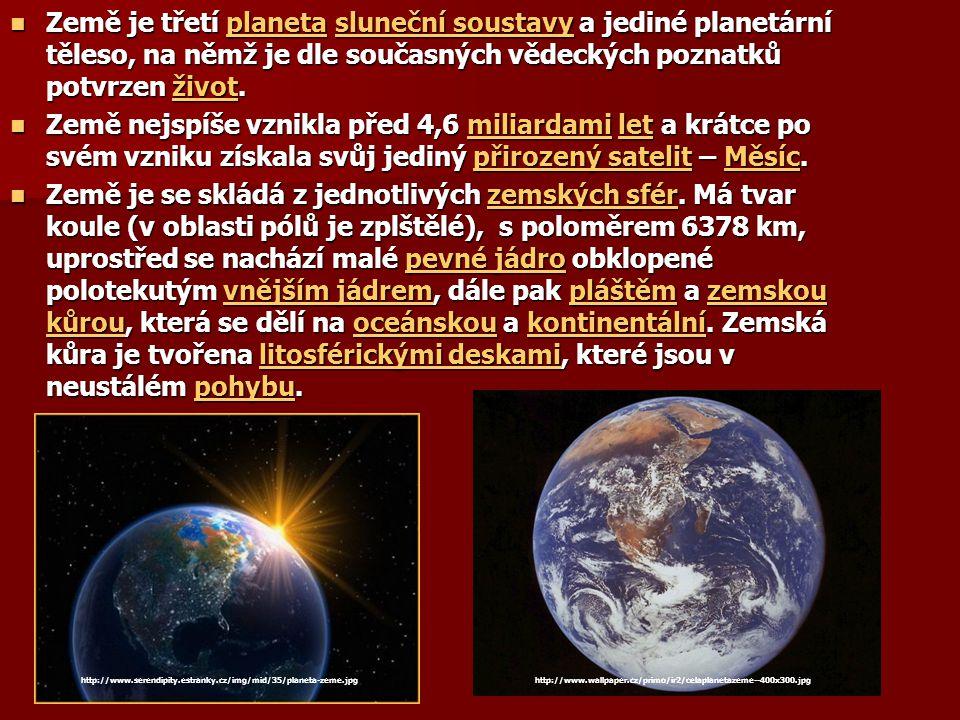 Země je třetí planeta sluneční soustavy a jediné planetární těleso, na němž je dle současných vědeckých poznatků potvrzen život. Země je třetí planeta