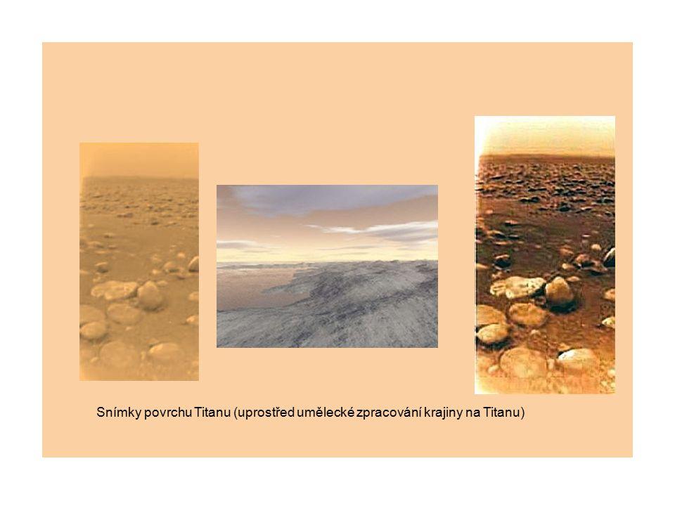 Snímky povrchu Titanu (uprostřed umělecké zpracování krajiny na Titanu)