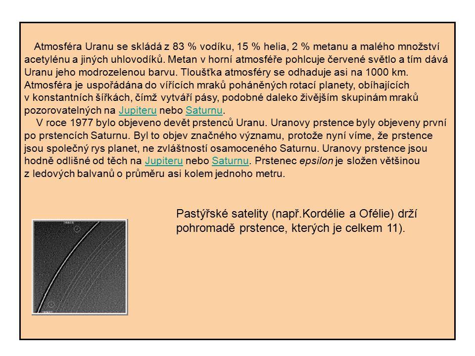 Atmosféra Uranu se skládá z 83 % vodíku, 15 % helia, 2 % metanu a malého množství acetylénu a jiných uhlovodíků. Metan v horní atmosféře pohlcuje červ