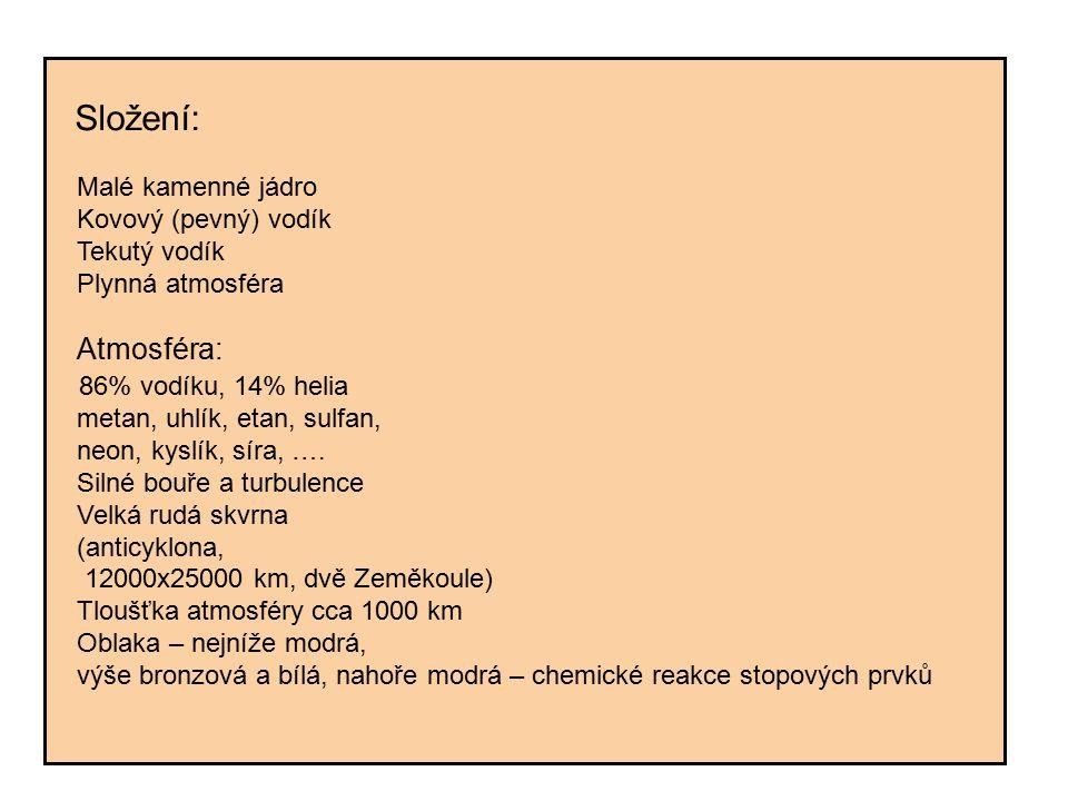 Složení: Malé kamenné jádro Kovový (pevný) vodík Tekutý vodík Plynná atmosféra Atmosféra: 86% vodíku, 14% helia metan, uhlík, etan, sulfan, neon, kysl