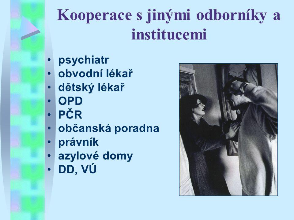 Kooperace s jinými odborníky a institucemi psychiatr obvodní lékař dětský lékař OPD PČR občanská poradna právník azylové domy DD, VÚ