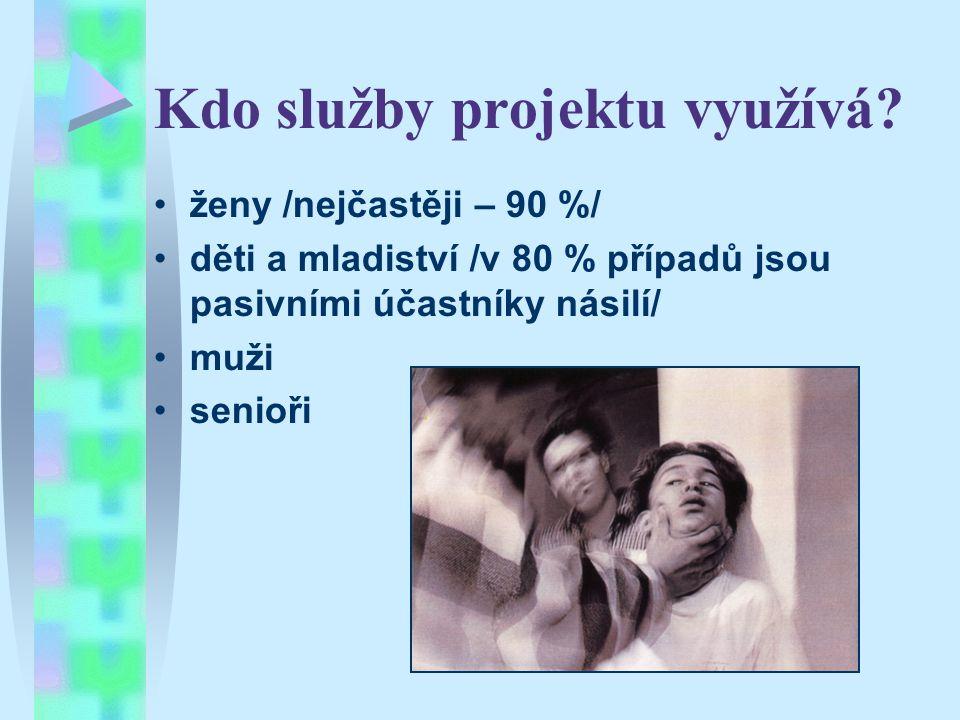 Kdo služby projektu využívá? ženy /nejčastěji – 90 %/ děti a mladiství /v 80 % případů jsou pasivními účastníky násilí/ muži senioři