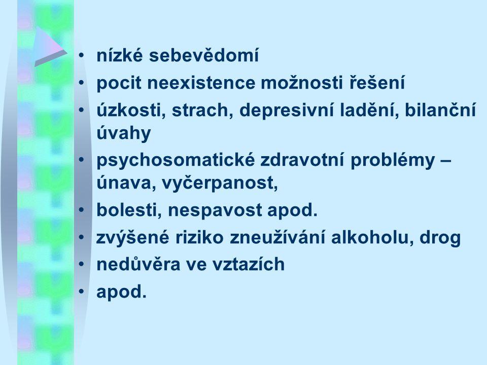 nízké sebevědomí pocit neexistence možnosti řešení úzkosti, strach, depresivní ladění, bilanční úvahy psychosomatické zdravotní problémy – únava, vyče