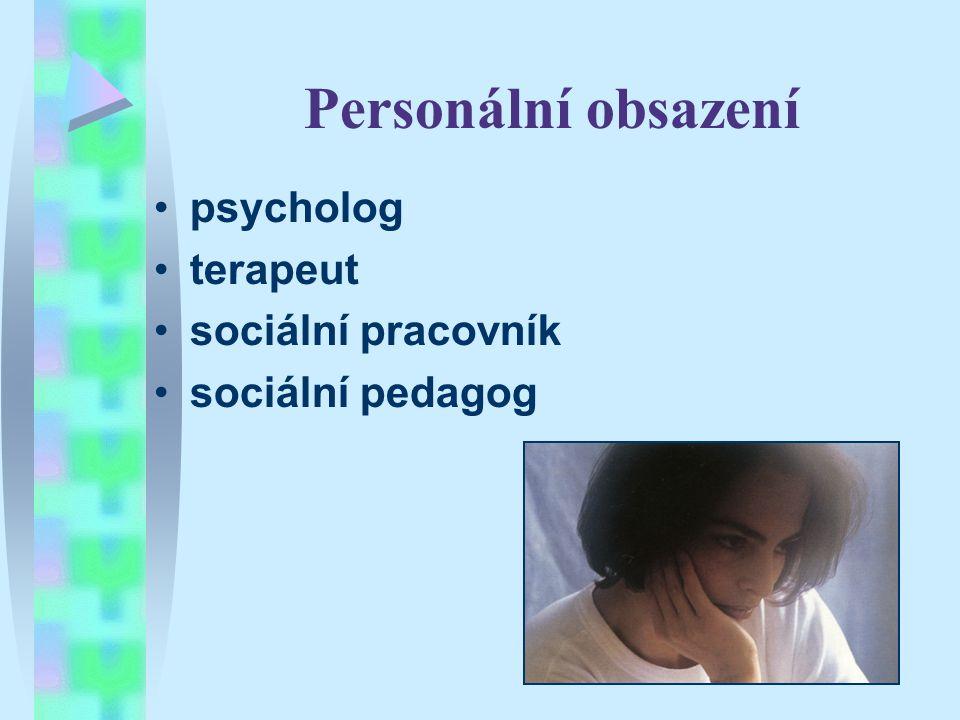 Personální obsazení psycholog terapeut sociální pracovník sociální pedagog
