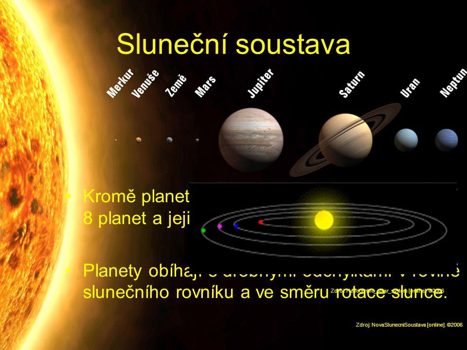 Sluneční soustava Kromě planetek a dalších menších těles ji tvoří 8 planet a jejich měsíce. Planety obíhají s drobnými odchylkami v rovině slunečního