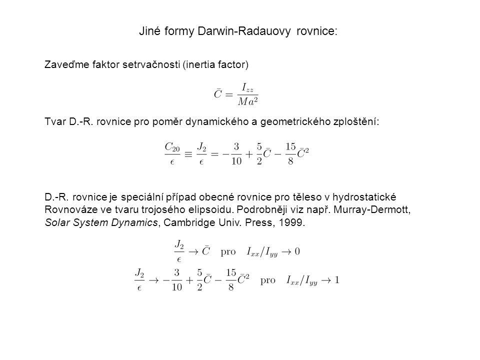 Jiné formy Darwin-Radauovy rovnice: D.-R.