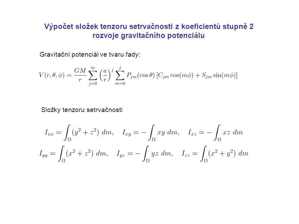 Výpočet složek tenzoru setrvačnosti z koeficientů stupně 2 rozvoje gravitačního potenciálu Gravitační potenciál ve tvaru řady: Složky tenzoru setrvačnosti