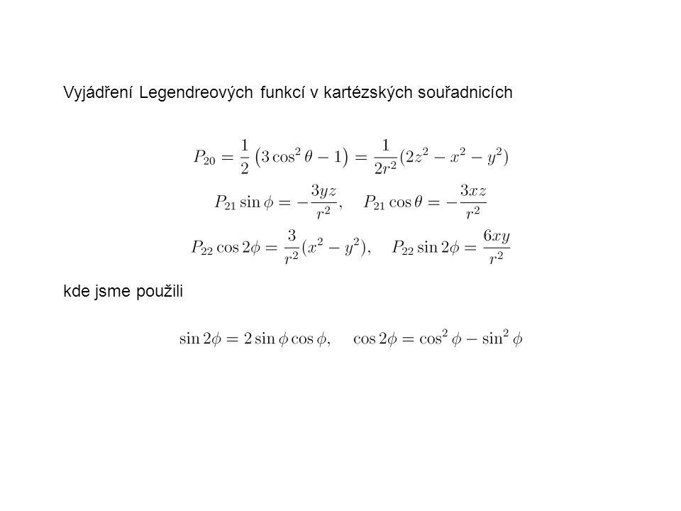 Složky tenzoru setrvačnost I xy, I xz a I yz jsou zcela určeny koeficienty S 22, C 21 a S 21.