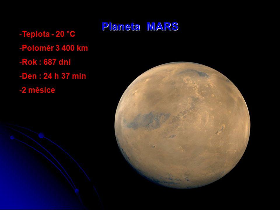 Planeta ZEMĚ -Třetí planeta -Průměrná teplota + 20 °C -Poloměr 6 378 km -1 měsíc(Měsíc)