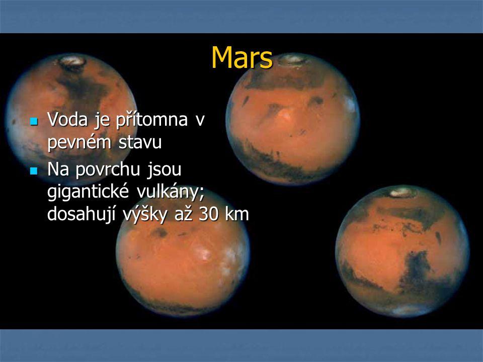 Mars Voda je přítomna v pevném stavu Voda je přítomna v pevném stavu Na povrchu jsou gigantické vulkány; dosahují výšky až 30 km Na povrchu jsou gigantické vulkány; dosahují výšky až 30 km