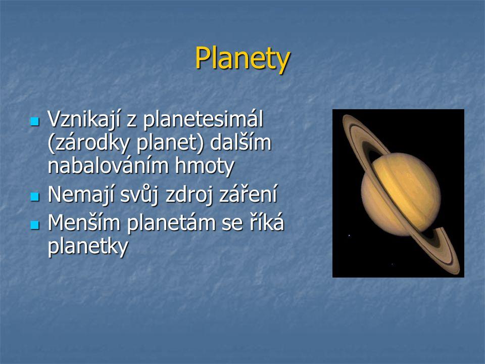 Planety Vznikají z planetesimál (zárodky planet) dalším nabalováním hmoty Vznikají z planetesimál (zárodky planet) dalším nabalováním hmoty Nemají svůj zdroj záření Nemají svůj zdroj záření Menším planetám se říká planetky Menším planetám se říká planetky