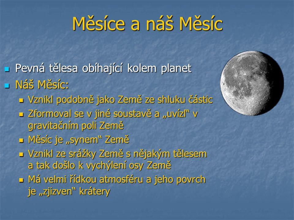 """Měsíce a náš Měsíc Pevná tělesa obíhající kolem planet Pevná tělesa obíhající kolem planet Náš Měsíc: Náš Měsíc: Vznikl podobně jako Země ze shluku částic Vznikl podobně jako Země ze shluku částic Zformoval se v jiné soustavě a """"uvízl v gravitačním poli Země Zformoval se v jiné soustavě a """"uvízl v gravitačním poli Země Měsíc je """"synem Země Měsíc je """"synem Země Vznikl ze srážky Země s nějakým tělesem a tak došlo k vychýlení osy Země Vznikl ze srážky Země s nějakým tělesem a tak došlo k vychýlení osy Země Má velmi řídkou atmosféru a jeho povrch je """"zjizven krátery Má velmi řídkou atmosféru a jeho povrch je """"zjizven krátery"""