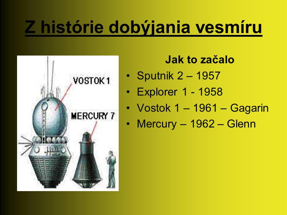 Z histórie dobýjania vesmíru Jak to začalo Sputnik 2 – 1957 Explorer 1 - 1958 Vostok 1 – 1961 – Gagarin Mercury – 1962 – Glenn