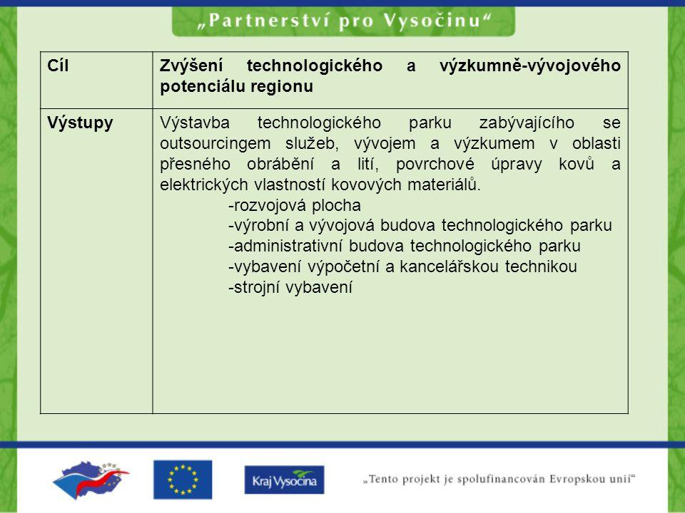 CílZvýšení technologického a výzkumně-vývojového potenciálu regionu VýstupyVýstavba technologického parku zabývajícího se outsourcingem služeb, vývoje