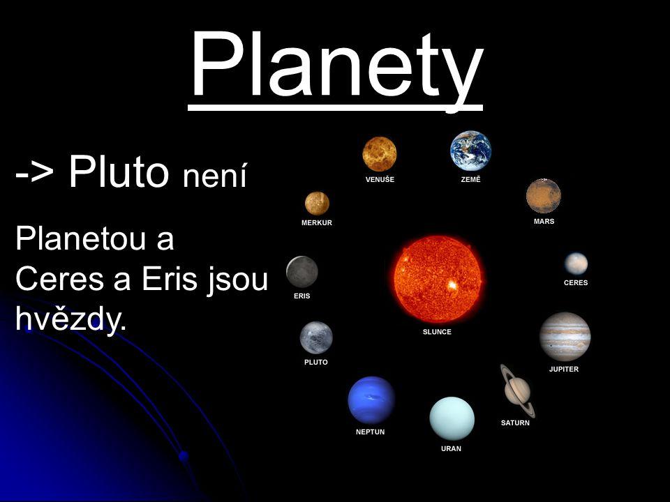 Planety -> Pluto není Planetou a Ceres a Eris jsou hvězdy.