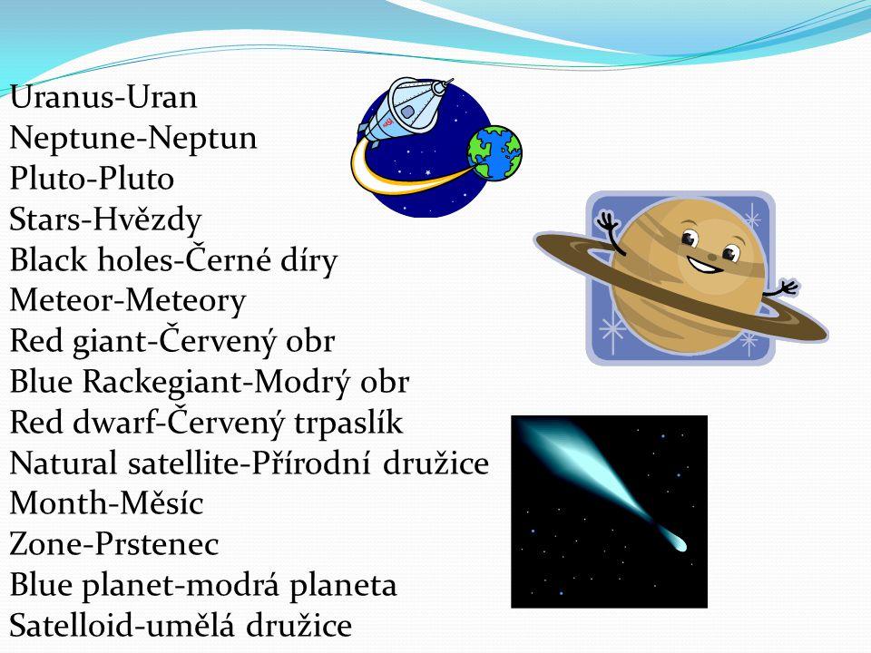 Zone-Prstenec Blue planet-modrá planeta Satelloid-umělá družice Rackets-rakety Spacemen-kosmonauti Nebula-mlhovina State without weight- stav bez tíže Constellation-souhvězdí Disk-disk