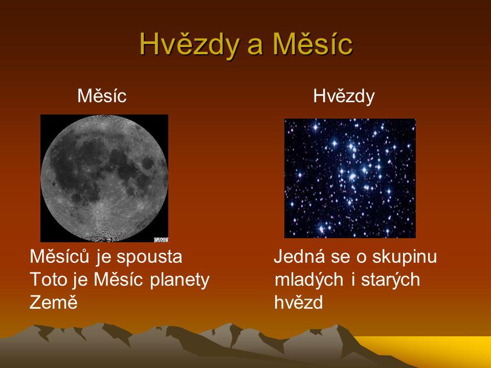 Hvězdy a Měsíc Měsíc Hvězdy Měsíců je spousta Jedná se o skupinu Toto je Měsíc planety mladých i starých Země hvězd