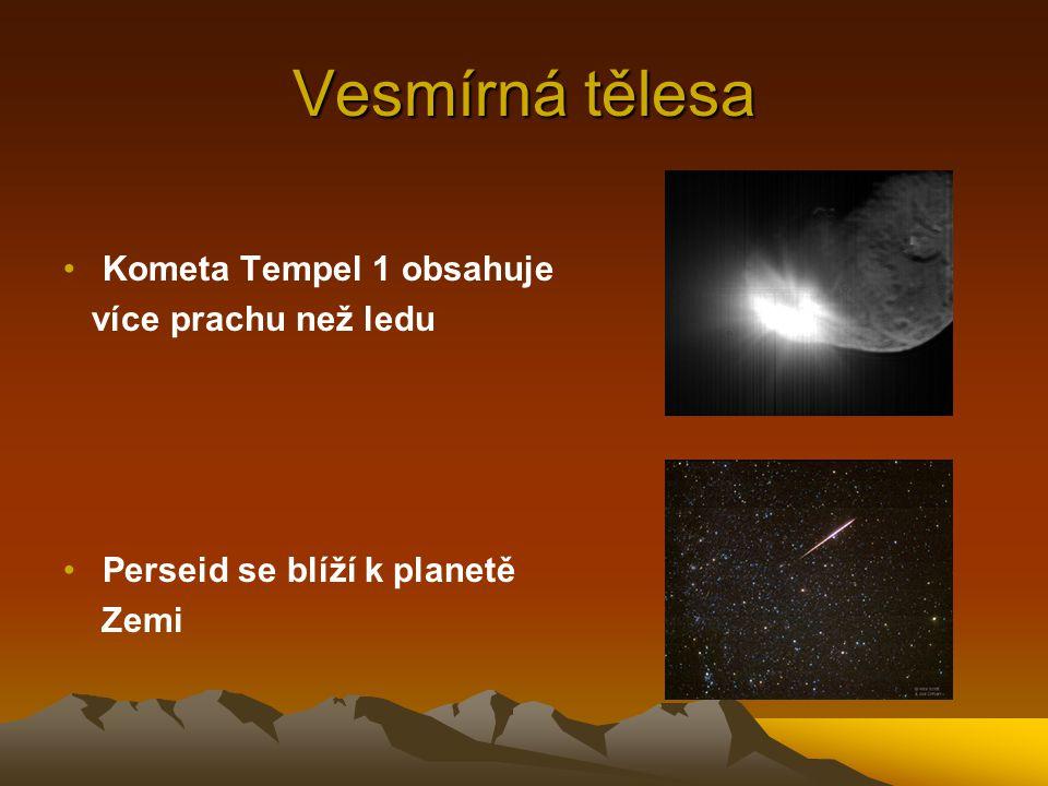 Vesmírná tělesa Kometa Tempel 1 obsahuje více prachu než ledu Perseid se blíží k planetě Zemi