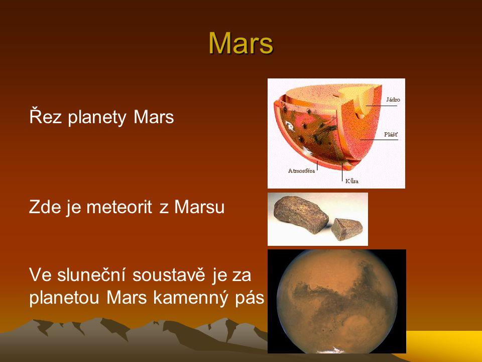 Mars Řez planety Mars Zde je meteorit z Marsu Ve sluneční soustavě je za planetou Mars kamenný pás