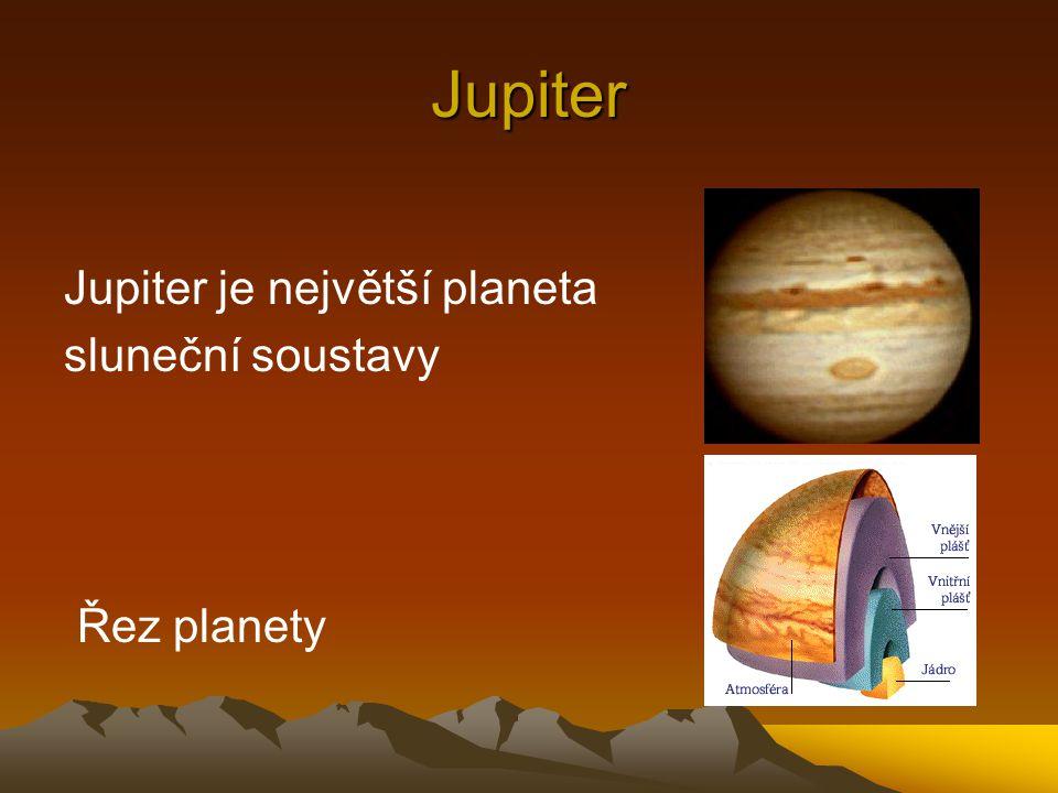 Jupiter Jupiter je největší planeta sluneční soustavy Řez planety