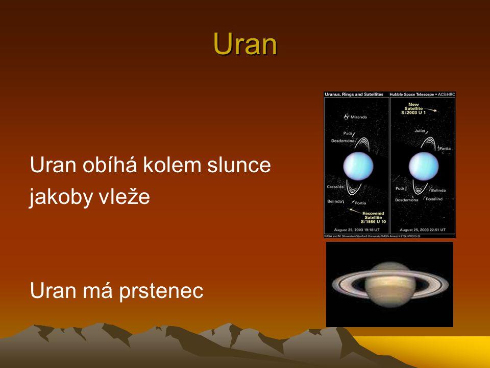 Uran Uran obíhá kolem slunce jakoby vleže Uran má prstenec