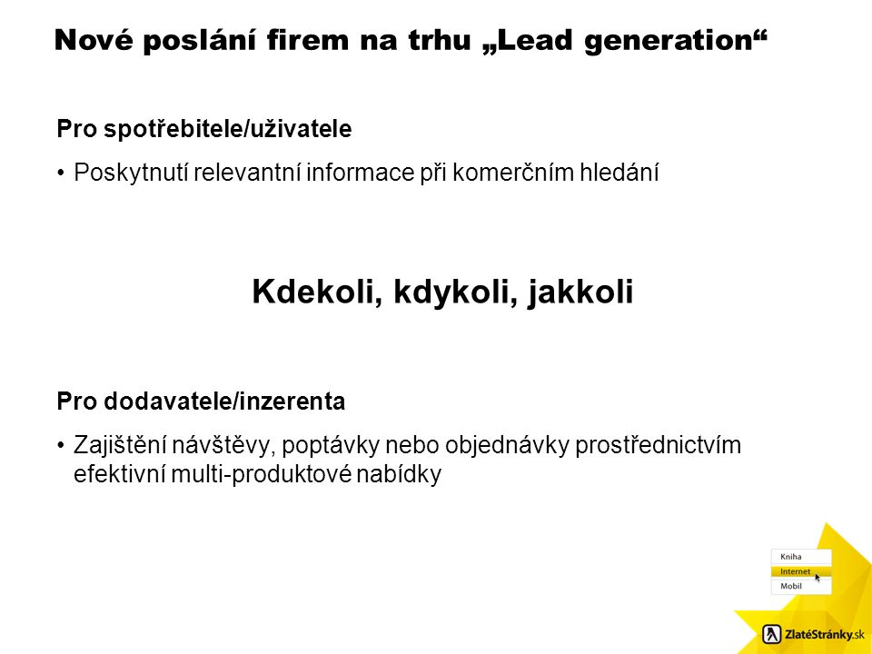 """Nové poslání firem na trhu """"Lead generation"""" Velikost obr.: 8,7 x 8,48. Použijte čtvercové odrážky / Pls. use squared bulletpoints Pro spotřebitele/už"""