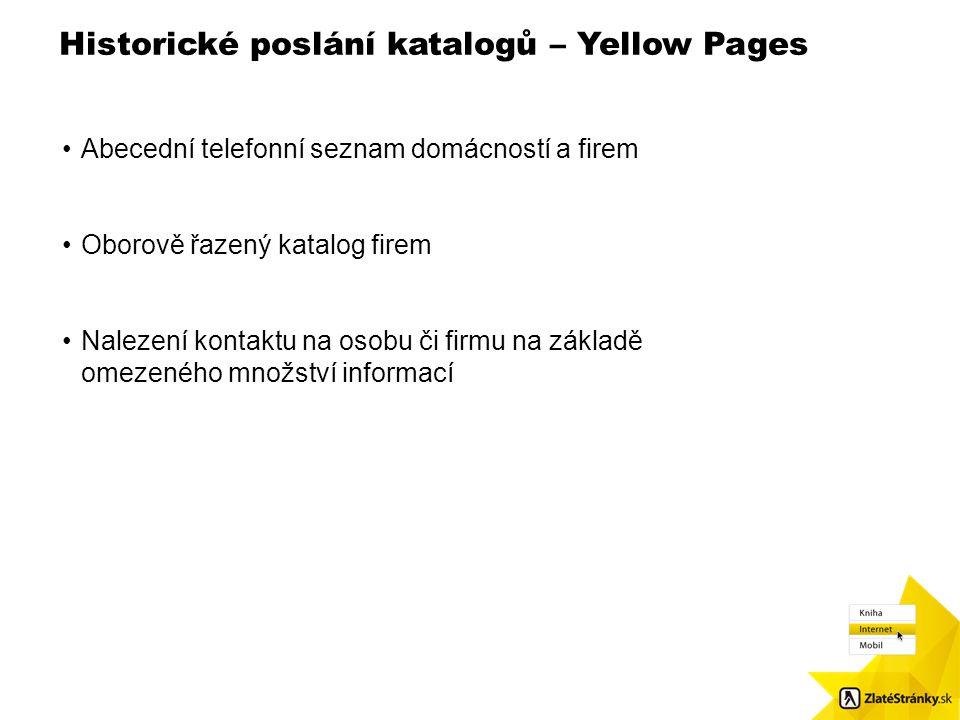 Historické poslání katalogů – Yellow Pages Velikost obr.: 8,7 x 8,48. Použijte čtvercové odrážky / Pls. use squared bulletpoints Abecední telefonní se