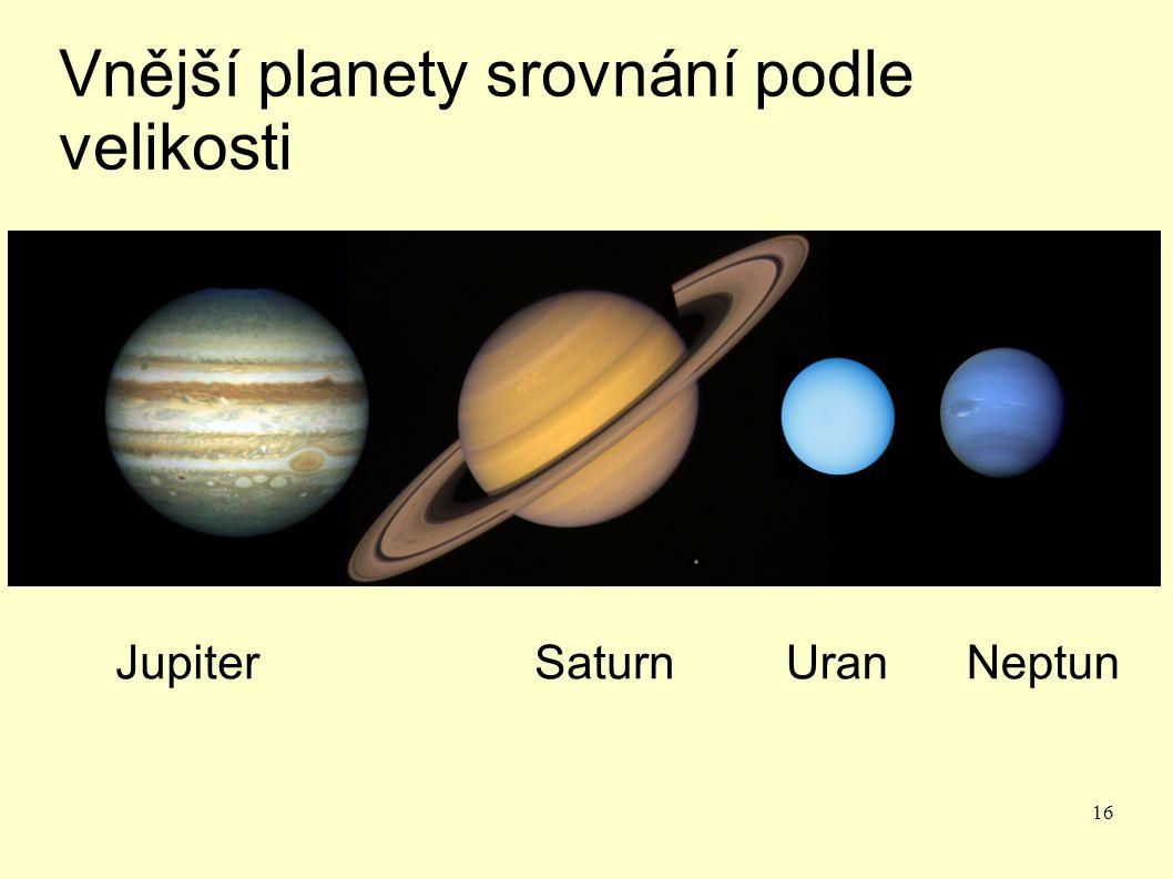 16 Vnější planety srovnání podle velikosti JupiterSaturnUran Neptun