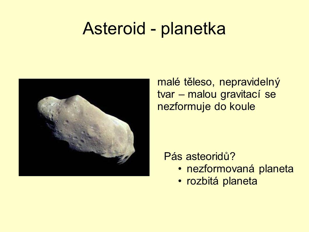 Asteroid - planetka malé těleso, nepravidelný tvar – malou gravitací se nezformuje do koule Pás asteoridů? nezformovaná planeta rozbitá planeta