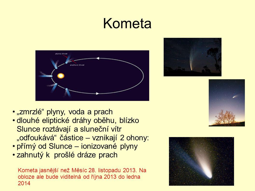 """Kometa """"zmrzlé"""" plyny, voda a prach dlouhé eliptické dráhy oběhu, blízko Slunce roztávají a sluneční vítr """"odfoukává"""" částice – vznikají 2 ohony: přím"""