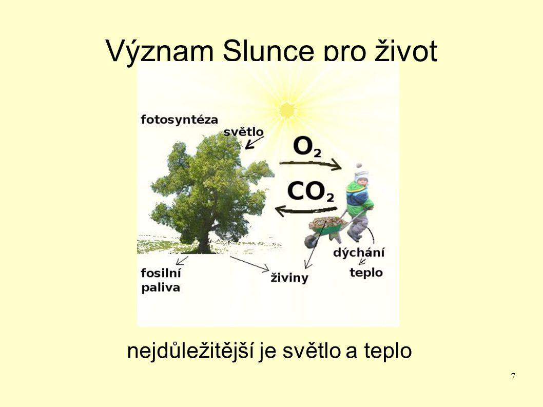 8 Stavba Slunce jádro – probíhá nukleogeneze spojování 2H na He 15 000 000 °C prodění hmoty (přenos tepla na povrch) erupce - žhavější hmota vystupuje na povrch skvrny- chladnější hmota sestupuje dolu