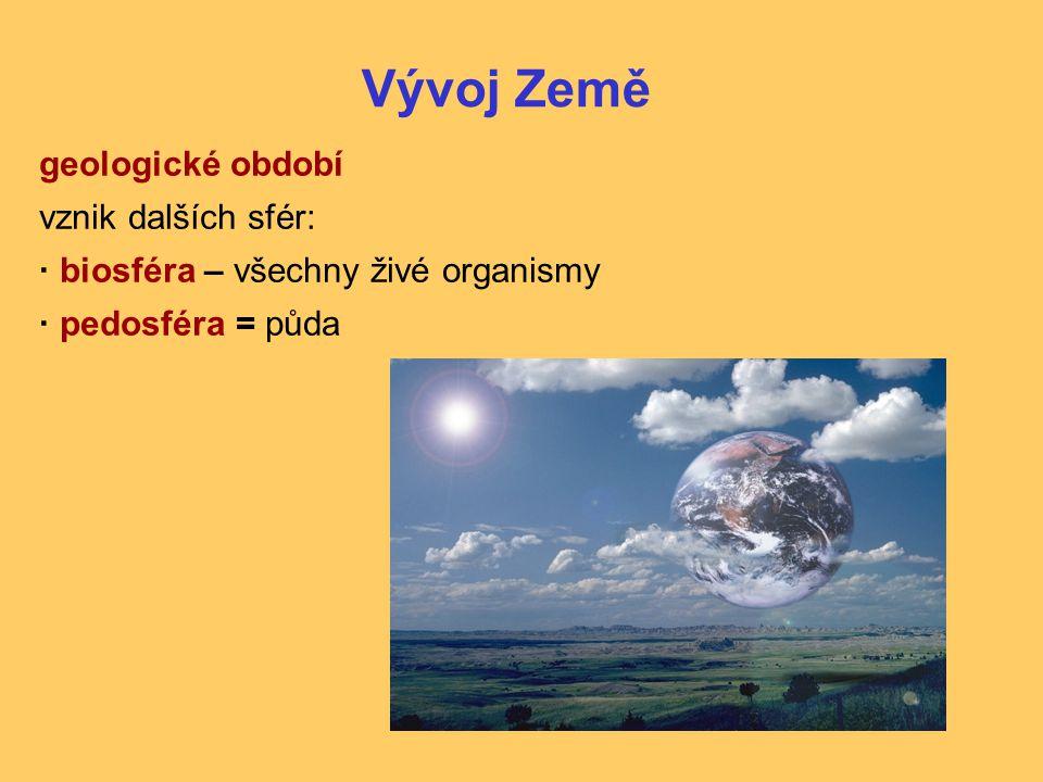 Vývoj Země geologické období vznik dalších sfér: ·biosféra – všechny živé organismy ·pedosféra = půda