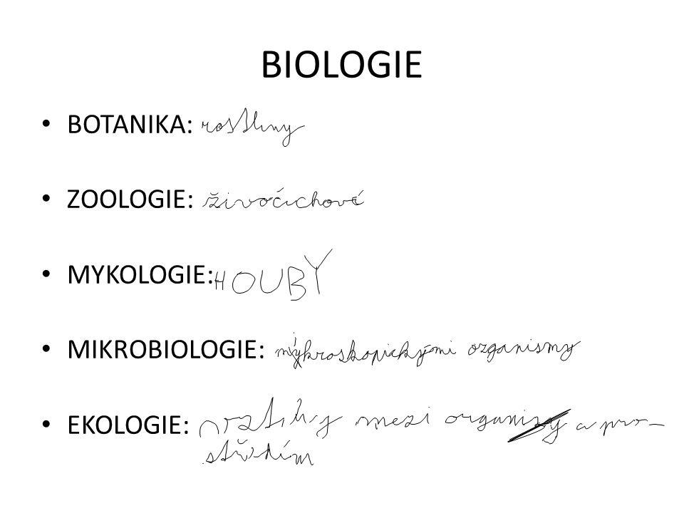 BIOLOGIE BOTANIKA: ZOOLOGIE: MYKOLOGIE: MIKROBIOLOGIE: EKOLOGIE: