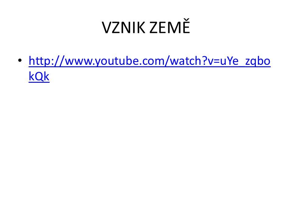 VZNIK ZEMĚ http://www.youtube.com/watch?v=uYe_zqbo kQk http://www.youtube.com/watch?v=uYe_zqbo kQk