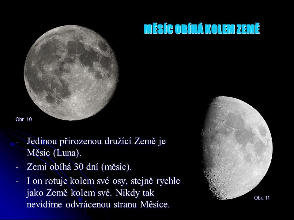 MĚSÍC OBÍHÁ KOLEM ZEMĚ - Jedinou přirozenou družící Země je Měsíc (Luna).