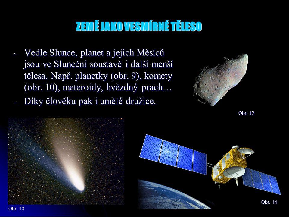 ZEMĚ JAKO VESMÍRNÉ TĚLESO - Vedle Slunce, planet a jejich Měsíců jsou ve Sluneční soustavě i další menší tělesa.