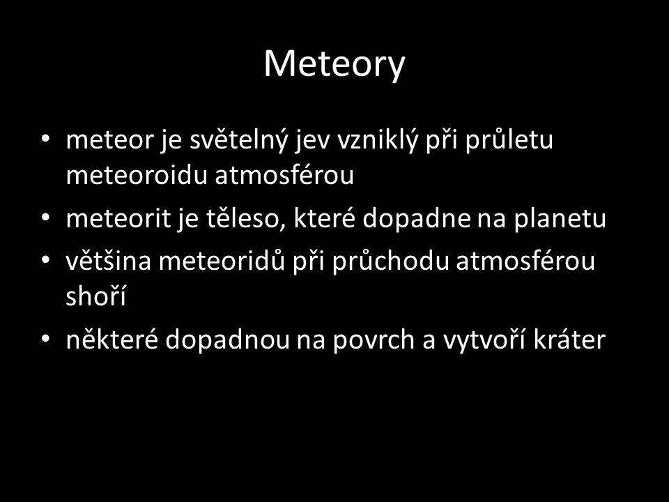 meteor je světelný jev vzniklý při průletu meteoroidu atmosférou meteorit je těleso, které dopadne na planetu většina meteoridů při průchodu atmosféro