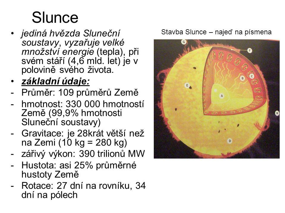 Slunce jediná hvězda Sluneční soustavy, vyzařuje velké množství energie (tepla), při svém stáří (4,6 mld. let) je v polovině svého života. základní úd