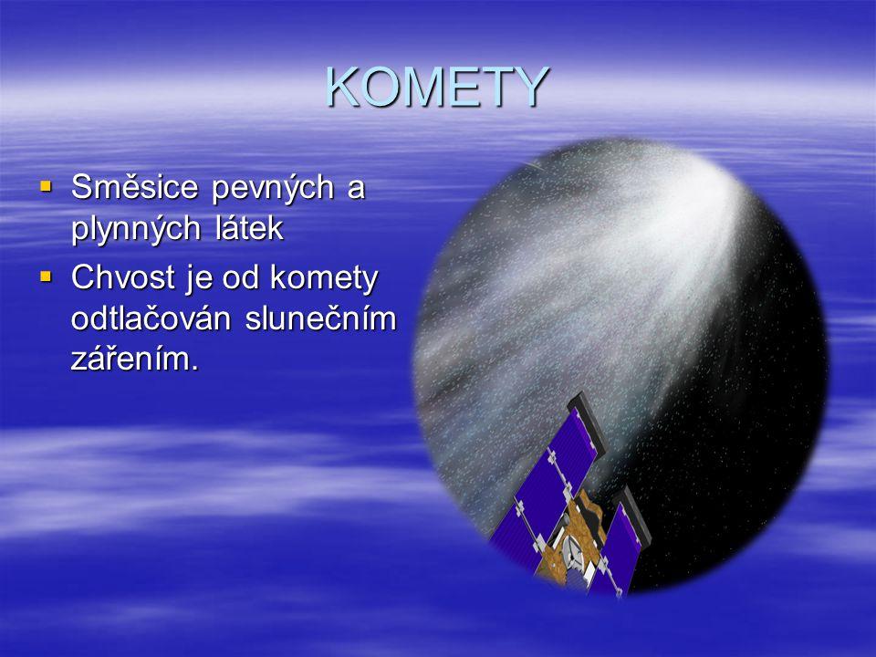 KOMETY SSSSměsice pevných a plynných látek CCCChvost je od komety odtlačován slunečním zářením.