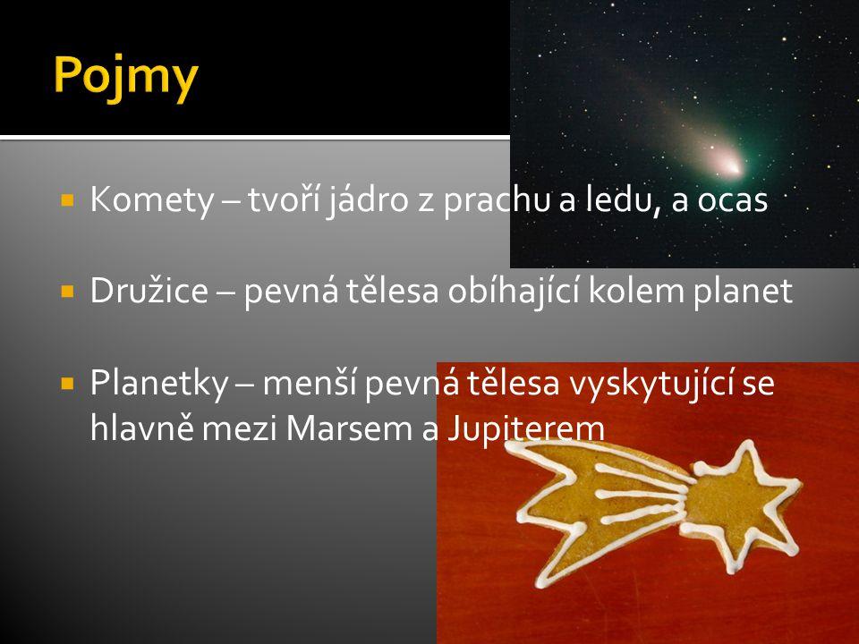 Komety – tvoří jádro z prachu a ledu, a ocas  Družice – pevná tělesa obíhající kolem planet  Planetky – menší pevná tělesa vyskytující se hlavně mezi Marsem a Jupiterem