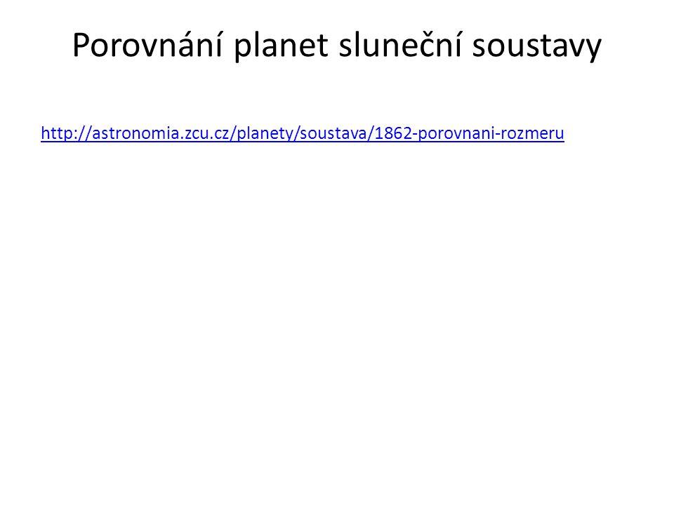 Porovnání planet sluneční soustavy http://astronomia.zcu.cz/planety/soustava/1862-porovnani-rozmeru