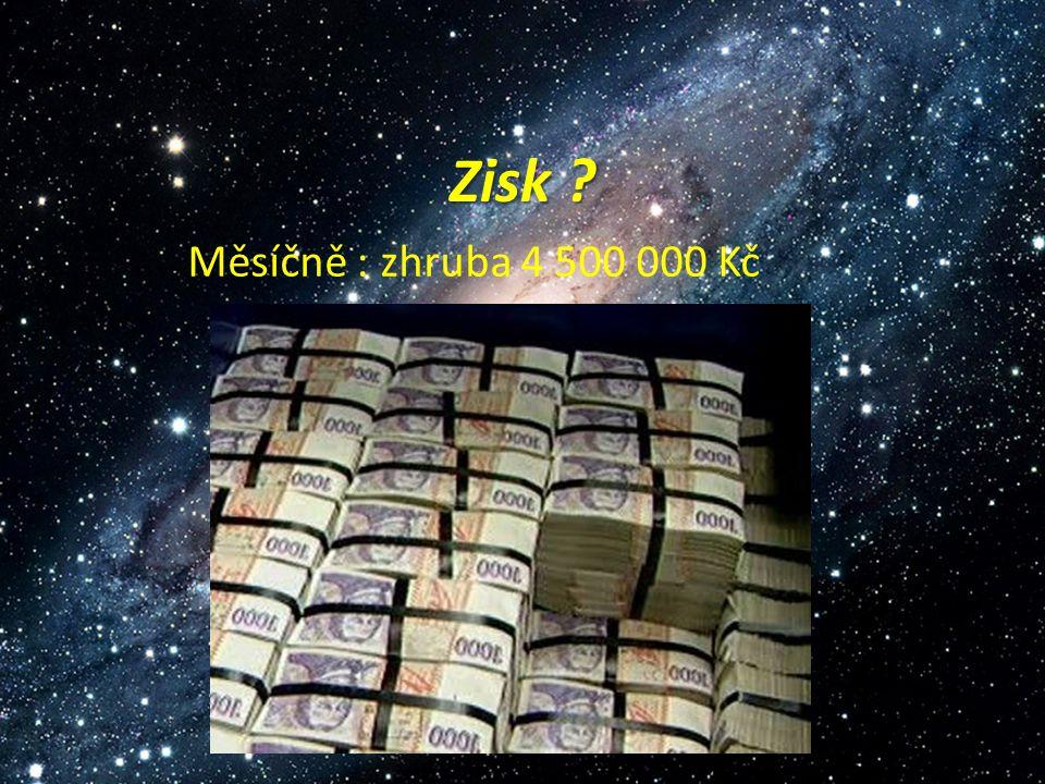 Zisk Měsíčně : zhruba 4 500 000 Kč