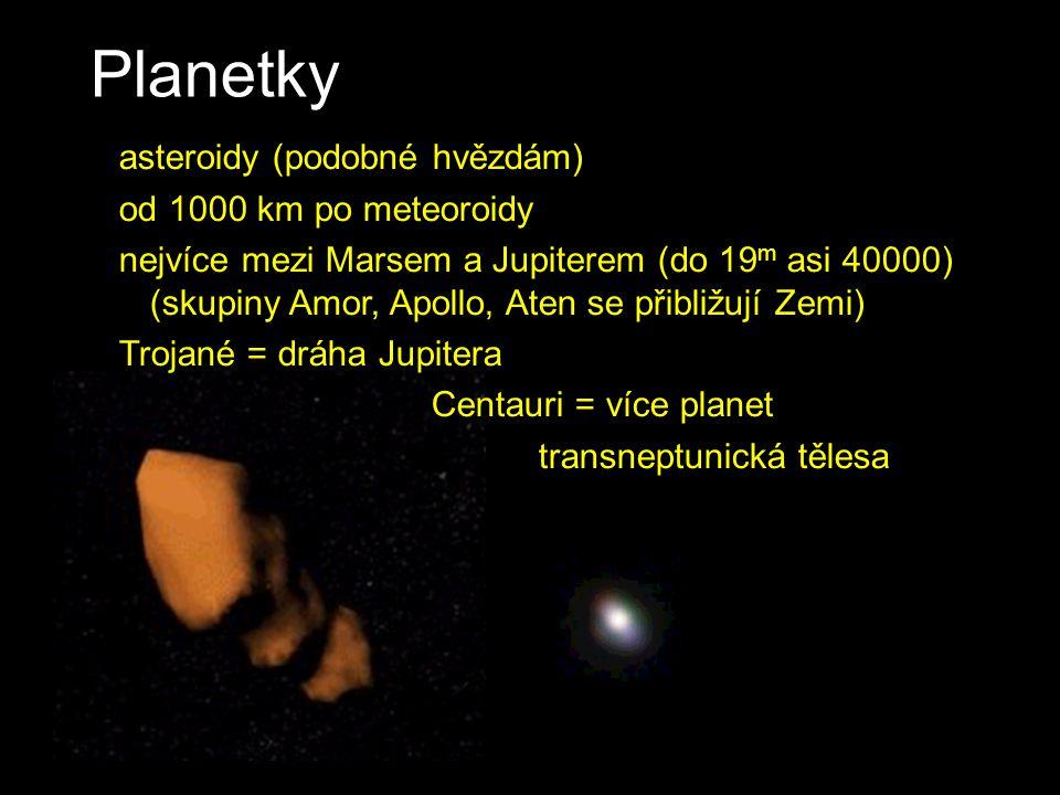 Planetky CERES (1025 km) asteroidy (podobné hvězdám) od 1000 km po meteoroidy nejvíce mezi Marsem a Jupiterem (do 19 m asi 40000) (skupiny Amor, Apoll