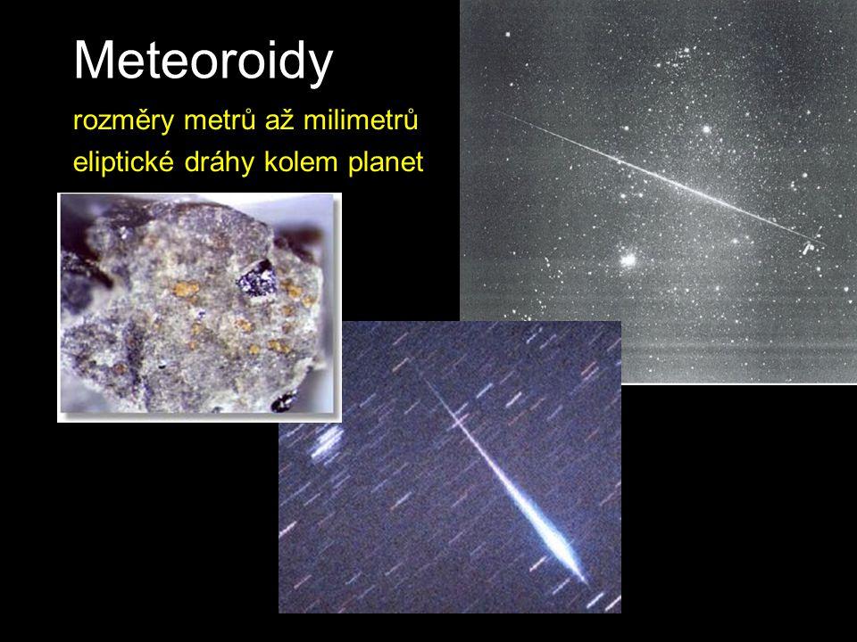 Meteoroidy rozměry metrů až milimetrů eliptické dráhy kolem planet
