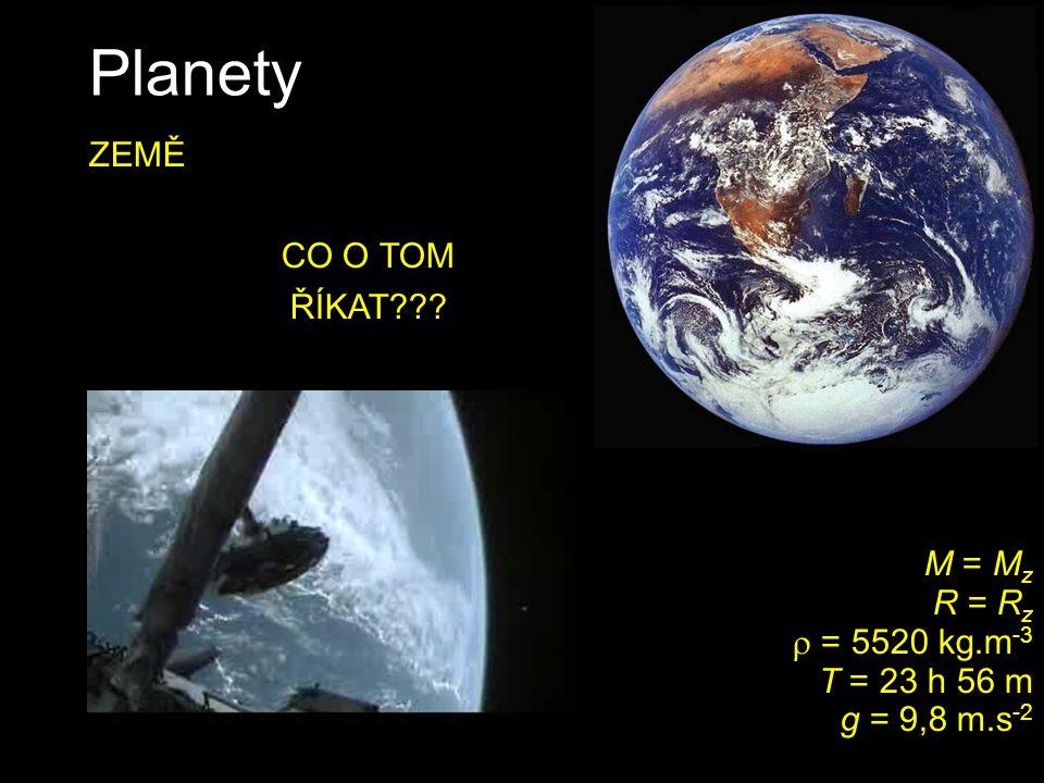 Planety M = 0,107 M z R = 0,53 R z  = 3940 kg.m -3 T = 24 h 37 m g = 3,7 m.s -2 MARS teploty kolem -130 až +30 °C podobný sklon osy jako Země někdy 4.