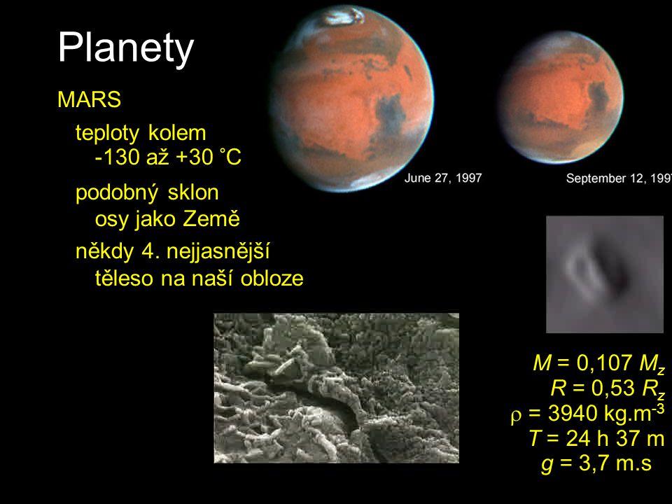 Planety M = 0,107 M z R = 0,53 R z  = 3940 kg.m -3 T = 24 h 37 m g = 3,7 m.s -2 MARS teploty kolem -130 až +30 °C podobný sklon osy jako Země někdy 4