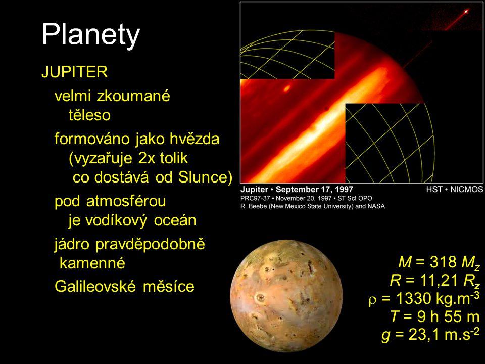 Planety JUPITER velmi zkoumané těleso formováno jako hvězda (vyzařuje 2x tolik co dostává od Slunce) pod atmosférou je vodíkový oceán jádro pravděpodo