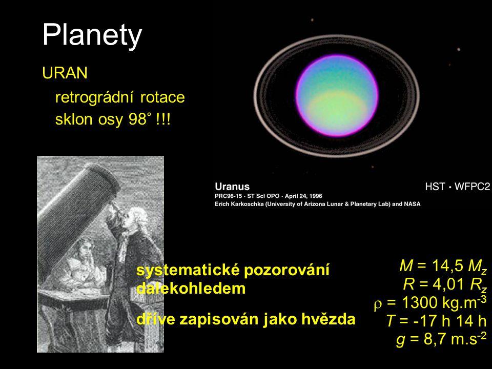 Planety URAN retrográdní rotace sklon osy 98° !!! M = 14,5 M z R = 4,01 R z  = 1300 kg.m -3 T = -17 h 14 h g = 8,7 m.s -2 systematické pozorování dal