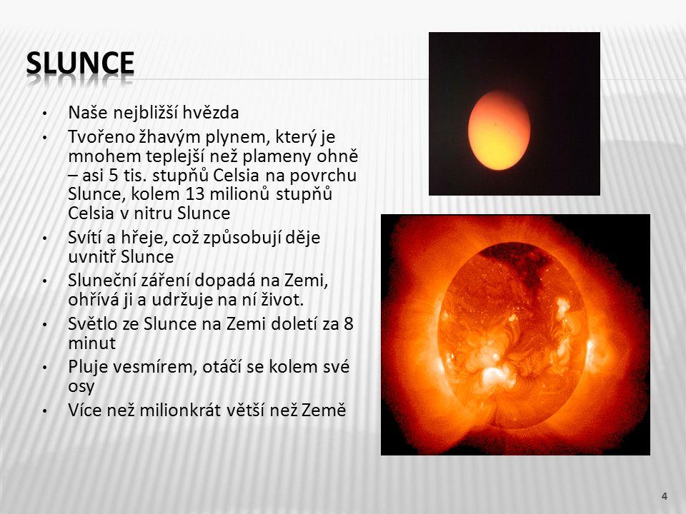 Naše nejbližší hvězda Tvořeno žhavým plynem, který je mnohem teplejší než plameny ohně – asi 5 tis.