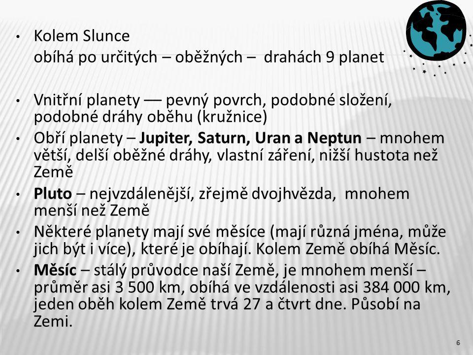 Kolem Slunce obíhá po určitých – oběžných – drahách 9 planet Vnitřní planety –– pevný povrch, podobné složení, podobné dráhy oběhu (kružnice) Obří planety – Jupiter, Saturn, Uran a Neptun – mnohem větší, delší oběžné dráhy, vlastní záření, nižší hustota než Země Pluto – nejvzdálenější, zřejmě dvojhvězda, mnohem menší než Země Některé planety mají své měsíce (mají různá jména, může jich být i více), které je obíhají.